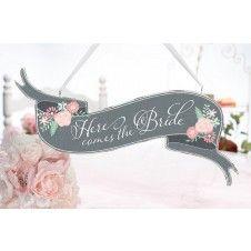 """Wunderschönes Holzschild mit zweiseitigem Schriftzug """"Here comes the Bride"""" und """"Just Married"""" im Vintage-Look"""