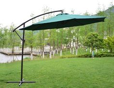 PatioPost Offset Hanging Patio Umbrella with UV Resistant Protect Cover Plant Lighting, Patio Lighting, Little Pool, Best Led Grow Lights, Offset Patio Umbrella, Colorful Plants, Patio Umbrellas, Patio Design, Indoor Plants