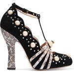 Gucci Embellished elaphe-trimmed suede pumps