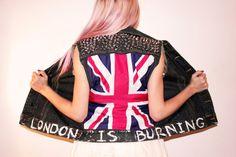 London Is Burning Punk Rock Sleeveless Studded Denim Jean Vest / British Flag / Mod Fashion / UK Style / Union Jack /