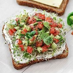 avocado, tomato, sprouts & pepper jack with chive spread @keyingredient #cheese #glutenfree #bread