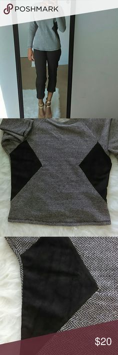 Long sleeve sweater Grey long sleeve sweater with black suede detailing. In a size small. Can be paired perfectly with some black jeans and combat boots Tops Sweatshirts & Hoodies