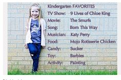 K.I.S.S. {Keep It Simple, Sister}: First Day of School Photo Ideas (WALL ON DRIVEWAY) use white lettering and wear same shirt from first day of Pre-k