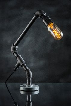 INDUSTRIAL Steampunk Style Iron Pipe Lamp with Vintage by Stubwick