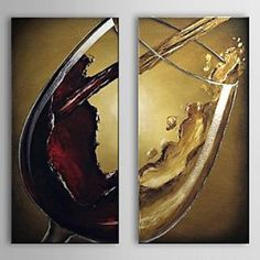 Unitary Modern Stretched Hand-painted Still Life Wine Glass Set of 2 Oil Painting on Canvas Wall Art Deco Home Decoration « AZ Gift Ideas Wine Painting, Oil Painting On Canvas, Canvas Wall Art, Oil Paint Set, Still Life Oil Painting, Art Deco Home, Wine Art, Paint And Sip, Wine Glass Set
