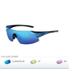 Tifosi Podium XC Golf Interchangeable Sunglasses - Clarion Mirror Collection - Crystal Blue