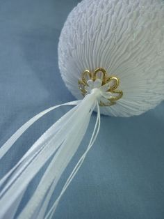 Tassel made from ribbon woven through holes in bead cap.
