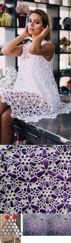 Вязание платья из круглых мотивов El işi http://turkrazzi.com/ppost/428686458269623512/
