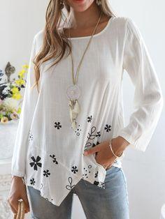 Plus Size Floral Print Irregular Women Blouses - Fashion - Womens - Women's Clothing - Shirts & Blouses - #fashion #clothing #blouse Cute Blouses, Shirt Blouses, Blouses For Women, Shirts, Fashion Online, Floral Prints, Tunic Tops, Plus Size, Womens Fashion
