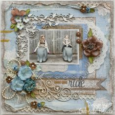 scrapbook page from Such a Pretty Mess: Maja Designs  ... vintage/shabby chic .. gorgeous example of the style ...