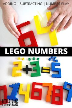 Build LEGO Numbers Math Activity for Kids. Great for kindergarten and  first grade math activities. Practice adding, subtracting, number recognition, and more math concepts by building LEGO numbers and mathematical signs! Math center activity for hands-on learning.