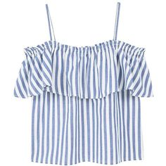 MANGO Ruffle striped top (185 SEK) ❤ liked on Polyvore featuring tops, blue, crop tops, stripe crop top, striped crop top, rouched top and flounce crop top