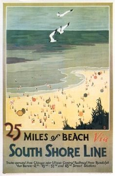 POSTER MILES OF BEACH MEXICO OCEAN SEAGULLS SUMMER TRAVEL VINTAGE REPRO FREE S//H