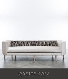 """DETTE SOFA 108"""" LONG X 34"""" OVERALL DEPTH X 30"""" ARM/BACK HEIGHT SEAT DEPTH 22"""" (WITH PILLOWS) 28"""" (NO PILLOWS) X SEAT HEIGHT 19"""" AS SHOWN IN BAMBOO VELVET OYSTER WITH COM CONTRAST PILLOWS"""