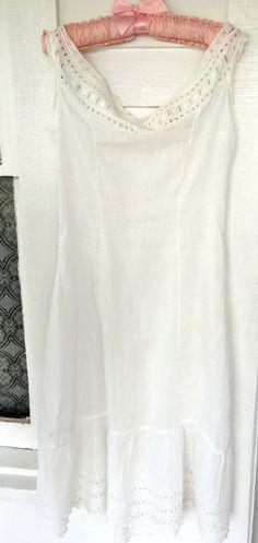 Antique Edwardian Linen Cotton Princess Slip Dress Petticoat White Eyelet lace by Holliezhobbiez on Etsy