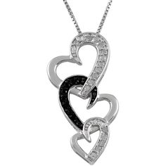 Jewel Exclusive Sterling Silver  Black and White Diamond Triple Heart... ($50) ❤ liked on Polyvore featuring jewelry, pendants, necklaces, multi, sterling silver jewelry, heart pendant, charm pendant, diamond pendant and chain pendant