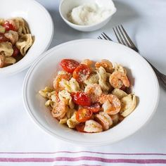 Try something different tonight with cheese tortellini. Instead of the typical tomato sauce, prepare with shrimp and tomatoes in a scampi sauce....