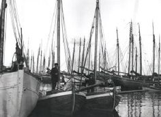 Drivkvaserne GERDA, yderst til højre, og ELLA midt for, med ejerne om bord, i Fakse Ladeplads. Kilde: M/S Museet for Søfart.