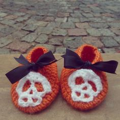 "Check out these Halloween DIY knitted booties from Craftsy member @Soles!  Feeling inspired? Visit the Craftsy site and click the ""Save Project"" button at the top to store this project for future inspiration!"