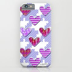 Sweetooth Love iPhone & iPod Case #new #love #romantic #heart #sweetheart #sweetooth #Houndstooth #graphic #stripes #flowers #art on #fashion #tech #iPhone #phone #cases for #her #Mom #office #home #school by Vikki Salmela