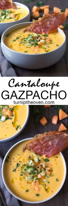 This fresh, healthy, gluten-free cantaloupe gazpacho is the perfect warm weather soup! Made with juicy melon, cucumber, yogurt, olive oil, and garnished with prosciutto crisps, it makes an easy and delicious light lunch or dinner.