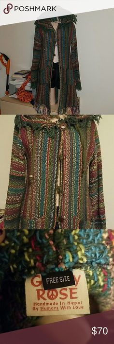 Gypsy Rose Fringe Coat A must have for my boho ladies..  Worn a handful of times.. missing the middle buttons which I no longer have but honestly this coat looks weird buttoned up and the buttons were flimsy lol other than that its in perfect condition. Just been hanging on the coat hooks for awhile.. it says free size but it would best fit a sm/med/lg.. probably no higher than lg. Coat was limited stock on gypsy rose two xmas ago.. Tagged HT for views. Hot Topic Jackets & Coats Trench Coats