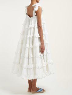 Fashion Tips For Ladies Iva Biigdres tiered cotton midi dress Burgundy Dress, White Dress, White Cotton Dresses, Midi Sundress, Tiered Skirts, Tiered Dress, Summer Dresses For Women, Elie Saab, Swing Dress