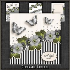 Vintage stripes flowers and butterflies grey 1078 on Craftsuprint - View Now!