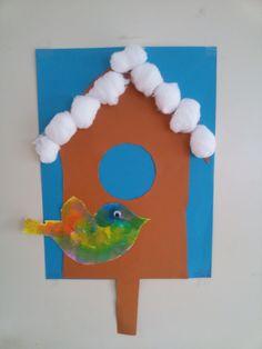 Vogelhuisje, knippen, prikken. Vogel stempelen.