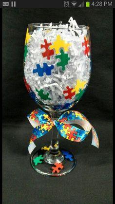 DIY puzzle piece wine glass