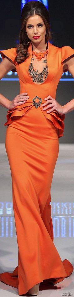 @roressclothes clothing ideas   #women fashion orange maxi dress Fouad Sarkis Spring 2016