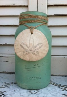 Beach Green Mason Jars w/Shells and Sand by ReFeatherYourNest