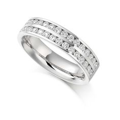 Double row of channel set round brilliant cut diamonds - standout feature of this spectacular vintage eternity ring design. Also available in white gold. Vintage Diamond, Vintage Rings, Eternity Ring Diamond, Eternity Rings, Wedding Ring Designs, Wedding Rings, White Gold Diamonds, Diamond Cuts, Fine Jewelry