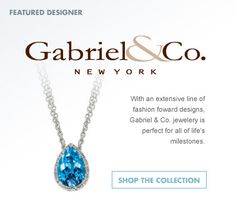Gabriel & Co. - Blue Topaz & Diamond Necklace  in 14k White Gold (3.70 ctw)  The brilliance of a blue topaz (3.60 ctw) resides in this fabulous 14k white gold necklace accented by dazzling diamonds (.10 ctw).
