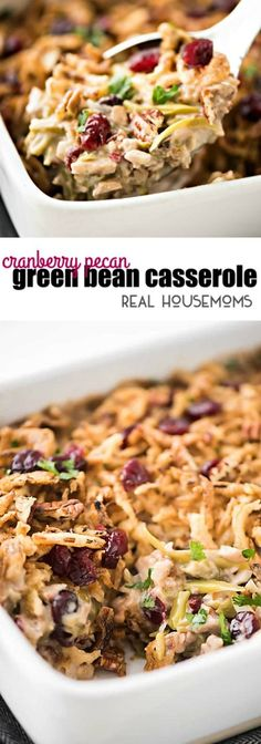 Real Housemoms' Aubrey Cota adds dried cranberries and candied walnuts to her green bean casserole for a pop of flavor and added crunch. Thanksgiving Green Bean Casserole, Classic Green Bean Casserole, Easy Holiday Recipes, Thanksgiving Recipes, Green Beans With Cranberries, Dried Cranberries, Christmas Main Dishes, Christmas Side, Christmas Desserts