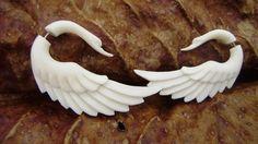 Fake gauge , Natural White Bone , Stick Gauge Earrings ,Anela hawaii  hand craved. $22.00, via Etsy.