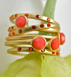 Radiant Coral Stacking Rings with Faceted Stones and Crystal Accents - Gorgeous Set of Five