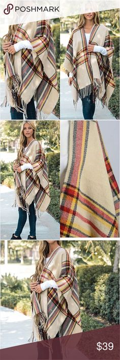 """Gorgeous Boho Chic Fringe Kimono Wrap Cardi O/S Be cozy & cute in this adorable plaid kimono cardigan wrap blanket scarf. Soft light-midweight acrylic knit in taupe, black red & yellow with fringe hem. Love it so much.  Poncho - kimono wrap - blanket scarf style cardi WITHOUT armholes. Oversized slouchy loose fuzzy  46"""" x 35"""" One Size Fits Most long Accessories Scarves & Wraps"""