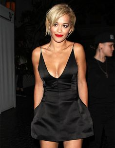 Rita Ora wowed in a cleavage-baring black dress hours after Calvin Harris announced the couple's split at the Chateau Marmont in West Hollywood on Friday, June 6