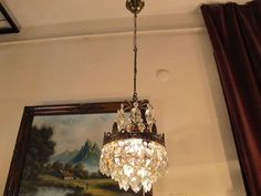 Antique Vintage.Small French Basket style Crystal Chandelier lamp 1940's 7 in    eBay