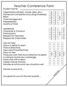 Parent Teacher Conference Form  Strengths  Concerns Editable
