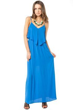 Angelic Lives Dress in Blue / ShopSosie #Blue #Chiffon #Maxi #ShopSosie