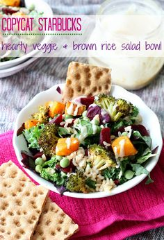 6 Healthy Copycat Starbucks Recipes -Copycat Starbucks Hearty Veggie and Brown Rice Salad Bowl Healthy Salad Recipes, Vegetarian Recipes, Cooking Recipes, Healthy Foods, Cooking Games, Salad Bowls, Soup And Salad, Rice Bowls, Brown Rice Salad
