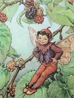 Mulberry Flower Fairy Picture Vintage by PeonyandThistlePaper