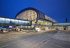 Completed in 2017 in Oslo, Norway. Images by Ivan Brodey, Dag Spant, Knut Ramstad. Designed by Oslo-based practice Nordic-Office of Architecture, the sqm expansion to Oslo Airport sets new standards in sustainability. Airport Architecture, Green Architecture, Architecture Photo, Futuristic Architecture, Terminal Velocity, Oslo Airport, Sustainable City, Sustainable Design, Arquitetura
