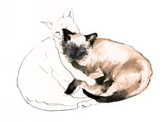 """Saatchi Online Artist: Roz Mcquillan; Pen and Ink Drawing """"Chinky and Chang ~ Watercolour"""""""