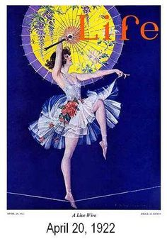 """Shades of celebrated high wire performer Bird Millman (1890-1940) in this stylized illustration of a girl on a wire. Entitled """"A Live Wire"""" dated April 20, 1922."""