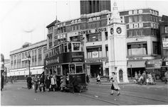 Lewisham High Street Lewisham clock tower, probably in the late The Co-Op building is still there. It became an indoor marke. London History, Local History, Vintage London, Old London, Old Pictures, Old Photos, Group Pictures, Forest Hill London, London Look