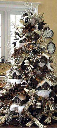 Christmas tree with birdhouses and snow! Charming for the cabin, lake house, boys room or study.