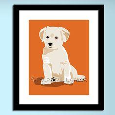 dog wall art for kids chevron Yellow Lab labrador by PaperLlamas, $14.00